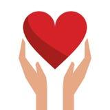 Hände hält Herzliebessorgfalt Lizenzfreies Stockbild