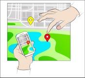 Hände halten beweglich mit Gps Lizenzfreies Stockfoto