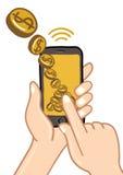 Hände halten intelligentes Telefon für Geld Lizenzfreies Stockfoto