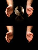 Hände herum der Kugel Stockfotografie