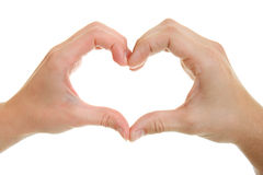 Hände, Männer und Frauen mit heart-shaped. Stockfotos