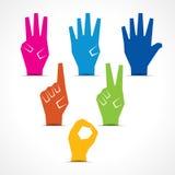 Hände machen Nr. null bis fünf mit Kopieraum Stockfotografie