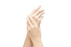Hände massieren mit einer Sahne lizenzfreie stockfotos