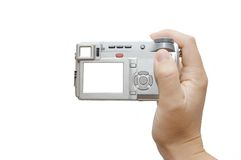 Hände mit einer kompakten Digitalkamera Stockfotos