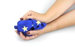 Hände mit EU-Flagge am 11. September 2016 Stockfotografie