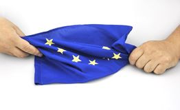 Hände mit EU-Flagge am 11. September 2016 Lizenzfreies Stockfoto