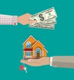 Hände mit Geld und Haus Grundbesitz? Häuser, Ebenen für Verkauf oder für Miete Stockfotos