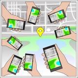 Hände mit Gps-Navigation Stockfoto