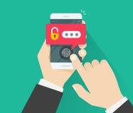 Hände mit Handy entriegelten mit Fingerabdruckknopf und Passwortmitteilungsvektor Lizenzfreies Stockbild