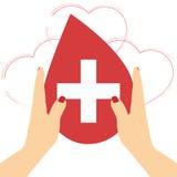 Hände mit Herzen formen auf rote Hintergrundillustration, Blut-Spende Stockbilder