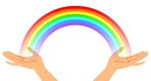 Hände mit Regenbogen Stockbild
