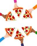 Hände mit Scheiben der Pizza und der Leerstelle vektor abbildung
