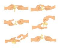 Hände mit Schlüsseln stock abbildung