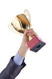 Hände mit Siegercup stockfotos