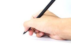 Hände mit Stift Stockfoto