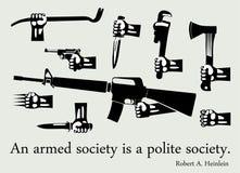 Hände mit verschiedenen Waffen lizenzfreie abbildung