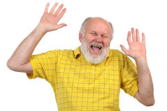 Hände oben, lächelnder älterer kahler Mann Lizenzfreies Stockbild