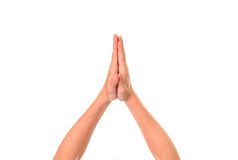 Hände oben lokalisiert Stockfoto