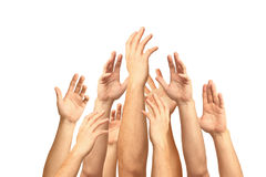 Hände oben lokalisiert auf Weiß Lizenzfreie Stockbilder