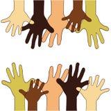 Hände oben von verschiedenen Rennen, Farben, Nationalitäten Lizenzfreies Stockbild
