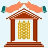 Hände schützen das Haus mit den Ohren des Weizens stock abbildung