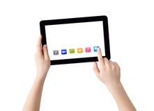 Hände, Tablette und apps Lizenzfreie Stockbilder