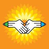 Hände und Bleistift Stockbilder