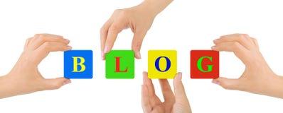 Hände und Blog Lizenzfreies Stockbild