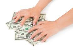 Hände und Geld stockbilder