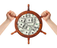 Hände und Geldhelm - Finanzmanagement Stockfotografie