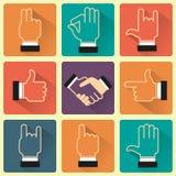 Hände und Gesten ikonen Flache Art Lizenzfreie Stockfotografie