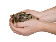 Hände und Münzen Stockfotografie