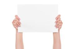 Hände und Papier Stockfoto