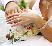 Hände und Ringe Stockfoto