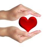 Hände und rotes Herz Stockfoto