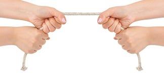 Hände und Seil Stockfoto