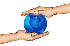 Hände und Weltkugel 5 stock abbildung