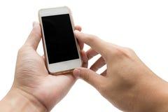 Hände unter Verwendung des Handys, der intelligentes Telefon in lokalisiertem backgroun hält Stockbild
