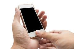 Hände unter Verwendung des Handys, der intelligentes Telefon in lokalisiertem backgroun hält Lizenzfreies Stockbild