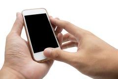 Hände unter Verwendung des Handys, der intelligentes Telefon in lokalisiertem backgroun hält Stockfotografie