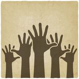 Hände up alten Hintergrund des Symbols Lizenzfreie Stockfotografie