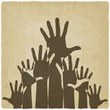 Hände up alten Hintergrund des Symbols Stockfoto