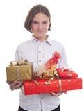 Hände voll der Geschenke Stockfoto