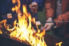 Hände von den Freunden, die Eibische über dem Feuer in einem Grill braten lizenzfreies stockbild