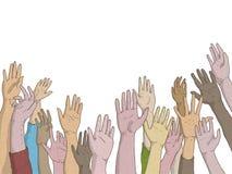 Hände von Männern und von Frauen hoben in Hilfeersuchen an oder berichten über die Anwesenheit mit metoo vektor abbildung