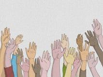 Hände von Männern und von Frauen hoben in Hilfeersuchen an oder berichten über die Anwesenheit mit metoo stock abbildung