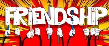Hände, welche die Wort Freundschaft halten lizenzfreie abbildung