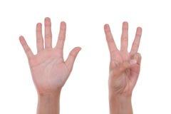 Hände zeigen die Nr. acht Lizenzfreies Stockbild