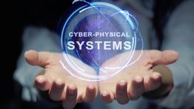 Hände zeigen rundem Hologramm Cyber-körperliche Systeme stock footage