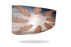 Hände zusammen auf abstraktem Schirm Lizenzfreie Stockbilder